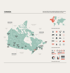 Map canada high detailed country vector