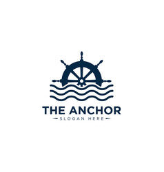 Marine retro emblems logo with anchor rope and vector