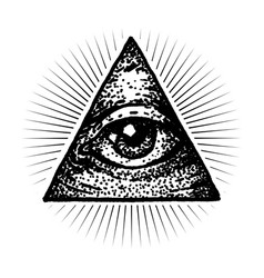 Masonic eye dot work style vector