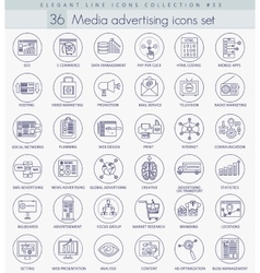 Media advertising outline icon set Elegant vector image