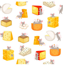 mice and pieces cheese seamless pattern vector image