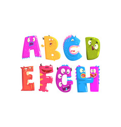 monster alphabetical letters from a to h vector image