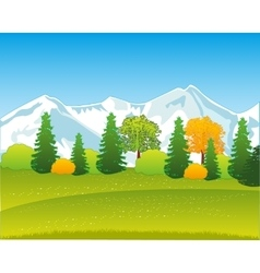 Mountains and wood by autumn vector