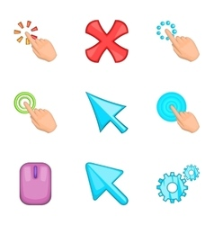 Mouse pointer icons set cartoon style vector