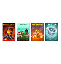 natural disasters posters set vector image