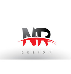 Nr n r brush logo letters with red and black vector