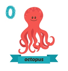 Octopus O letter Cute children animal alphabet in vector