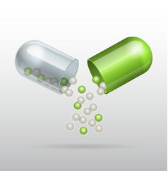 Opening medical green capsule vector