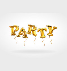 Party gold letter metallic balloons characters in vector