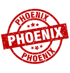 Phoenix red round grunge stamp vector