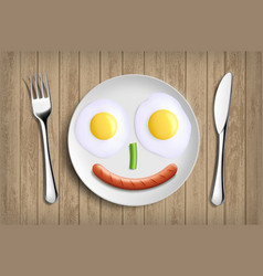 Plate with fried eggs vegetable and sausage like vector