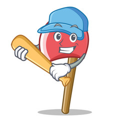Playing baseball axe character cartoon style vector