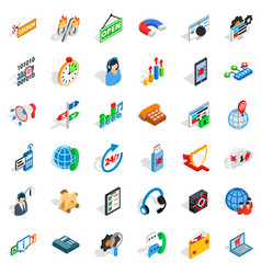 Power grid icons set isometric style vector
