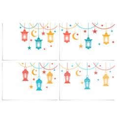 ramadan kareem set color lanterns in the vector image
