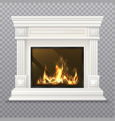 realistic 3d classic fireplace with burning fire vector image