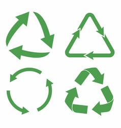 Recycle icon set green eco cycle arrows recycle vector