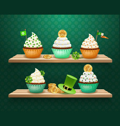 Saint patricks day sweets composition vector