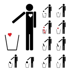 set of eleven figures throwing in the trash heart vector image