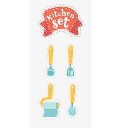 set of hand drawn kitchen cooking utensils vector image