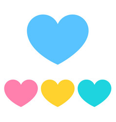 set of heart icon in flat color heart icons vector image