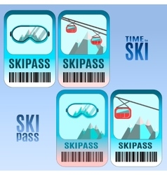 Set of ski pass template design vector