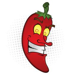smiling chili pepper cartoon vector image