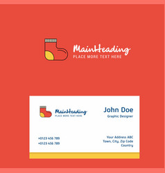 socks logo design with business card template vector image