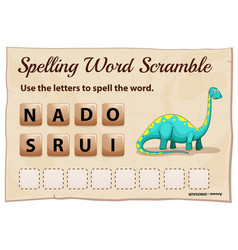 spelling word scrable game with word dinosaur vector image