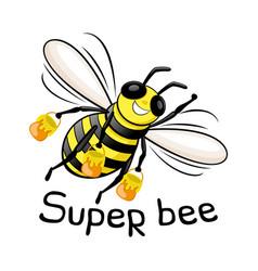 Super bee with honey in flight vector