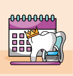 Tooth crown brush paste calendar vector