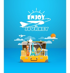 Travel bag vacation design template enjoy vector