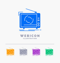 Tv ad advertising television set 5 color glyph vector