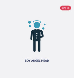 Two color boy angel head icon from people concept vector
