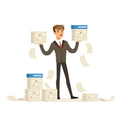 Upset businessman holding a lot of documents vector