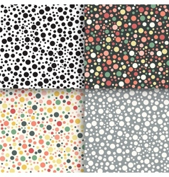 Vintage polka dot seamless patterns set vector image