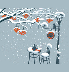 Winter street cafe under rowan tree with lamppost vector