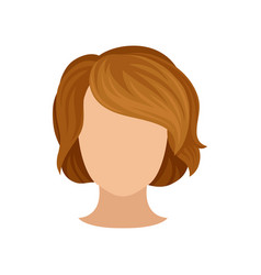 Woman s head with trendy hairstyle short brown vector