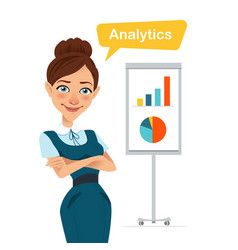 Woman stands near flipchart with chart diagram vector