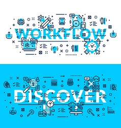 Words Workflow and Discover Modern heading title vector