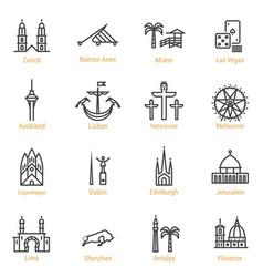 World landmarks - line icon set - part iv vector