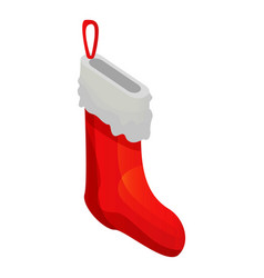 xmas red sock icon isometric style vector image