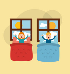 young boy and girl in your bed stretching window vector image