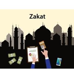 Zakat concept moslem islam count counting money vector