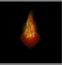 burning heart sticker with fire and flame vector image vector image