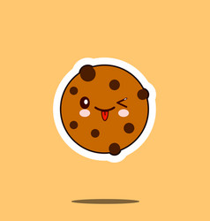 Chocolate chip cookie set vector