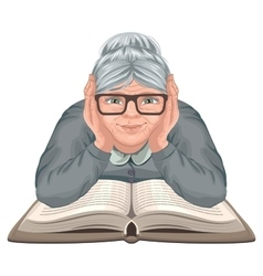 Grandmother reading book Old woman in glasses vector image