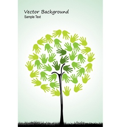 tree with hands vector image
