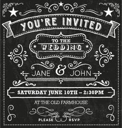 Wedding chalkboard invitation elements vector