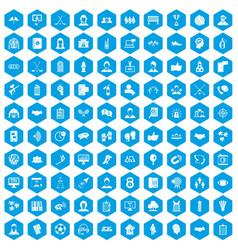 100 team icons set blue vector