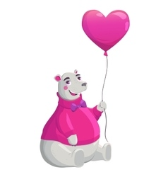 Bear holding pink heart vector image